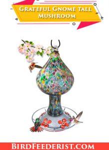 Grateful Gnome tall Mushroom glass hummingbird feeder